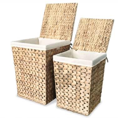 vidaXL Juego de cestos para la ropa 2 unidades de jacinto de agua[1/9]