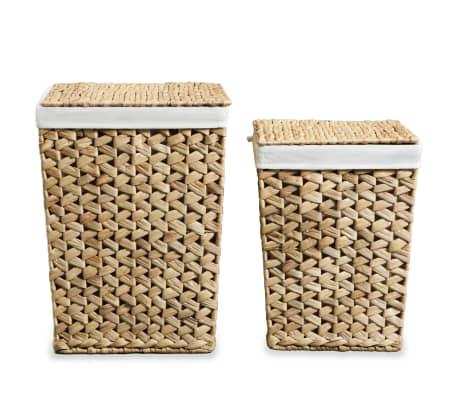 vidaXL Juego de cestos para la ropa 2 unidades de jacinto de agua[3/9]