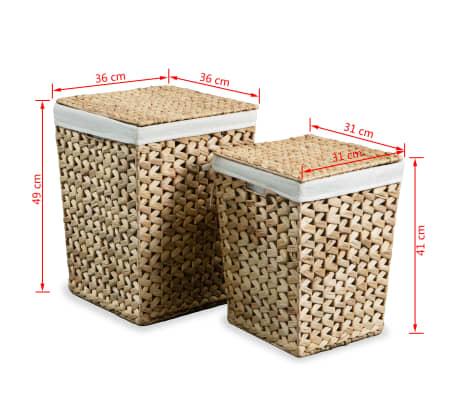vidaXL Juego de cestos para la ropa 2 unidades de jacinto de agua[9/9]