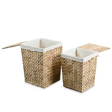 vidaXL Juego de cestos para la ropa 2 unidades de jacinto de agua[4/9]