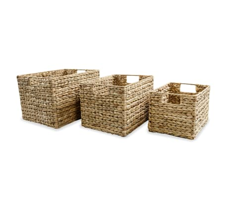 vidaXL Storage Basket Set 3 Pieces Water Hyacinth