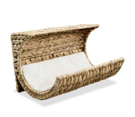 "vidaXL Cat Bed with Cushion Water Hyacinth 14.6""x7.9""x7.9"""