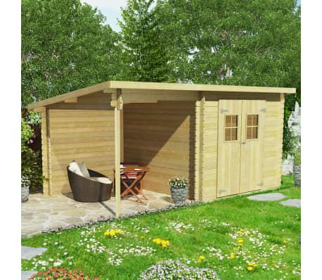 vidaxl bois massif cabanon de jardin rondins abri jardin. Black Bedroom Furniture Sets. Home Design Ideas