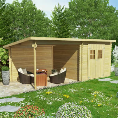 Sensationelle Shop vidaXL bjælkehytte-haveskur massivt træ 28 mm 6,3 x 3 m | vidaXL TE07