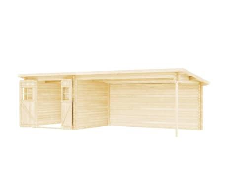 vidaXL bjælkehytte-haveskur massivt træ 28 mm 7,3 x 3 m[3/10]