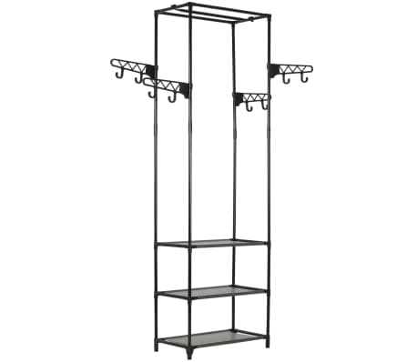 vidaXL Clothes Rack Steel and Non-woven Fabric 55x28.5x175 cm Black