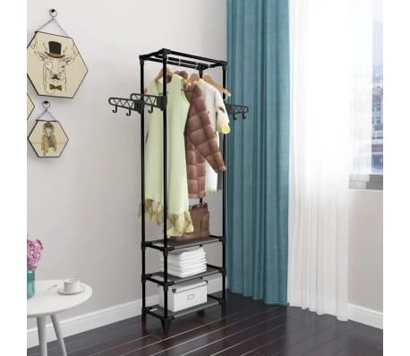 vidaXL Kleiderständer Stahl und Vliesstoff 55 x 28,5 x 175 cm Schwarz[8/9]