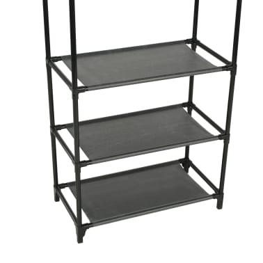vidaXL Kleiderständer Stahl und Vliesstoff 55 x 28,5 x 175 cm Schwarz[5/9]