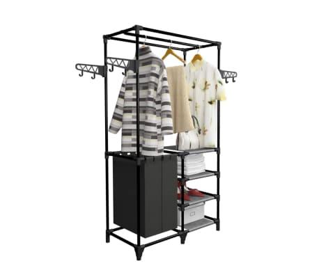 vidaXL Drabužių kabykla, plienas ir neaust. aud., 87x44x158cm, juoda[5/7]