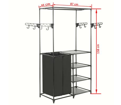 vidaXL Kleiderständer Stahl und Vliesstoff 87 x 44 x 158 cm Schwarz[7/7]