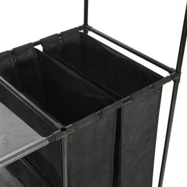vidaXL Kleiderständer Stahl und Vliesstoff 87 x 44 x 158 cm Schwarz[5/7]