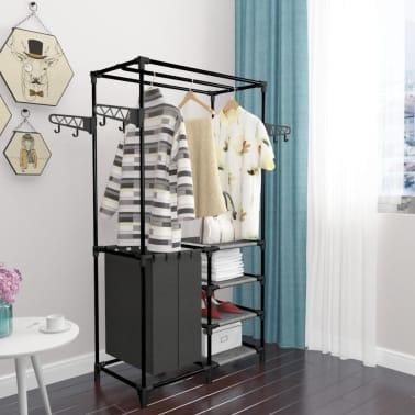 vidaXL Kleiderständer Stahl und Vliesstoff 87 x 44 x 158 cm Schwarz[6/7]
