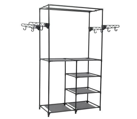 vidaXL Clothes Rack Steel and Non-woven Fabric 87x44x158 cm Black