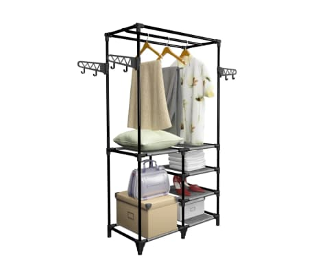 vidaXL Perchero de ropa acero y textil no tejido negro 87x44x158 cm[2/6]