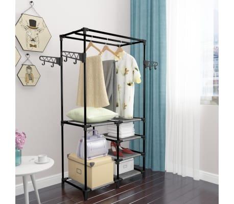 vidaXL Perchero de ropa acero y textil no tejido 87x44x158 cm negro[5/6]