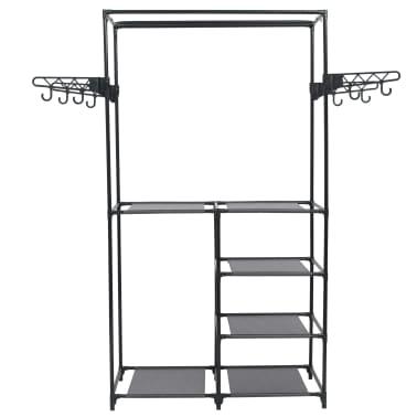 vidaXL Perchero de ropa acero y textil no tejido 87x44x158 cm negro[2/6]