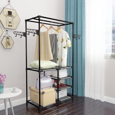 vidaXL Perchero de ropa acero y textil no tejido negro 87x44x158 cm[5/6]