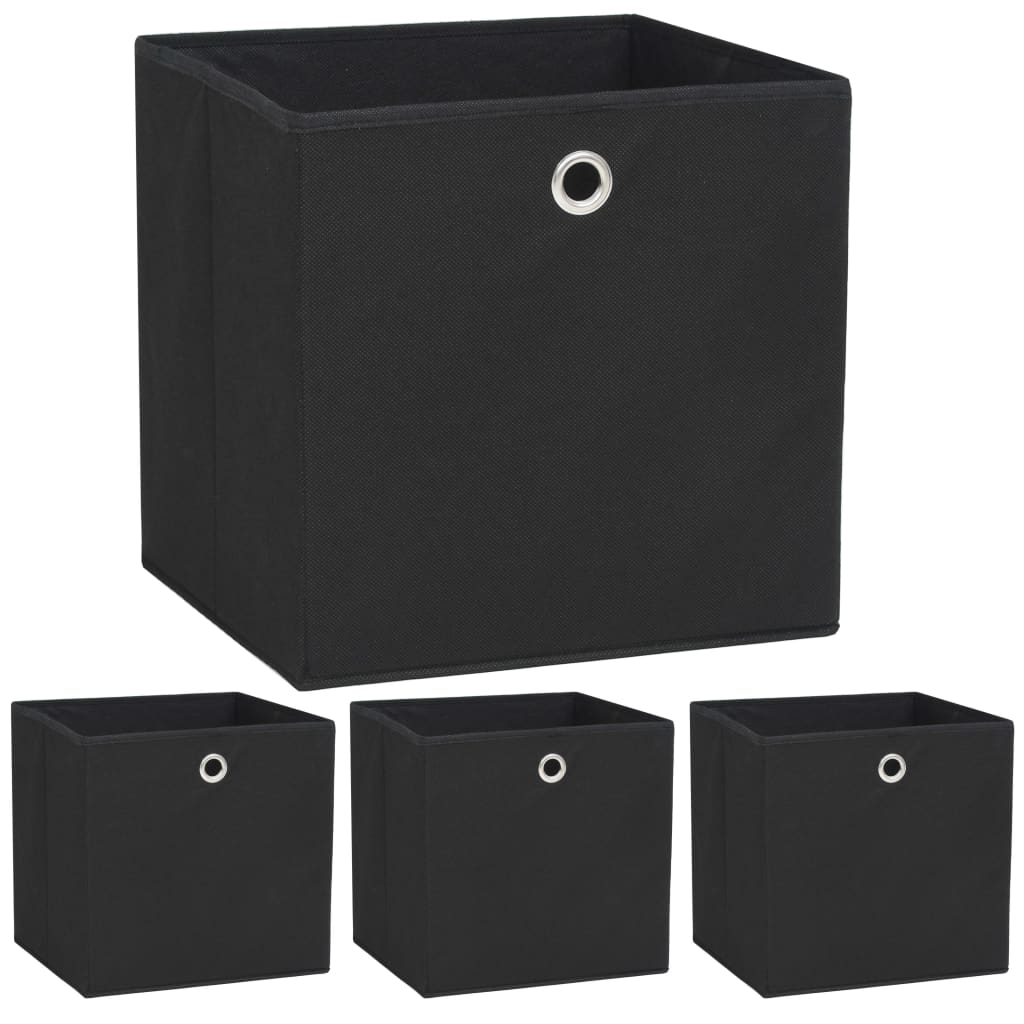 vidaXL Cutii depozitare, 4 buc, material nețesut, 32x32x32 cm, Negru imagine vidaxl.ro