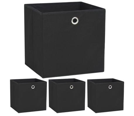 vidaXL Storage Boxes 4 pcs Non-woven Fabric 32x32x32 cm Black