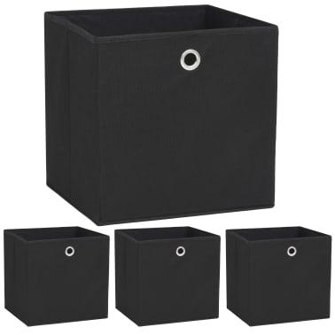 vidaXL Daiktadėžės, 4vnt., neaustinis audinys, 32x32x32cm, juodos[1/7]