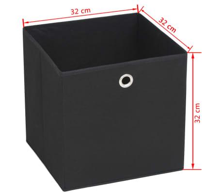 vidaXL Daiktadėžės, 4vnt., neaustinis audinys, 32x32x32cm, juodos[7/7]