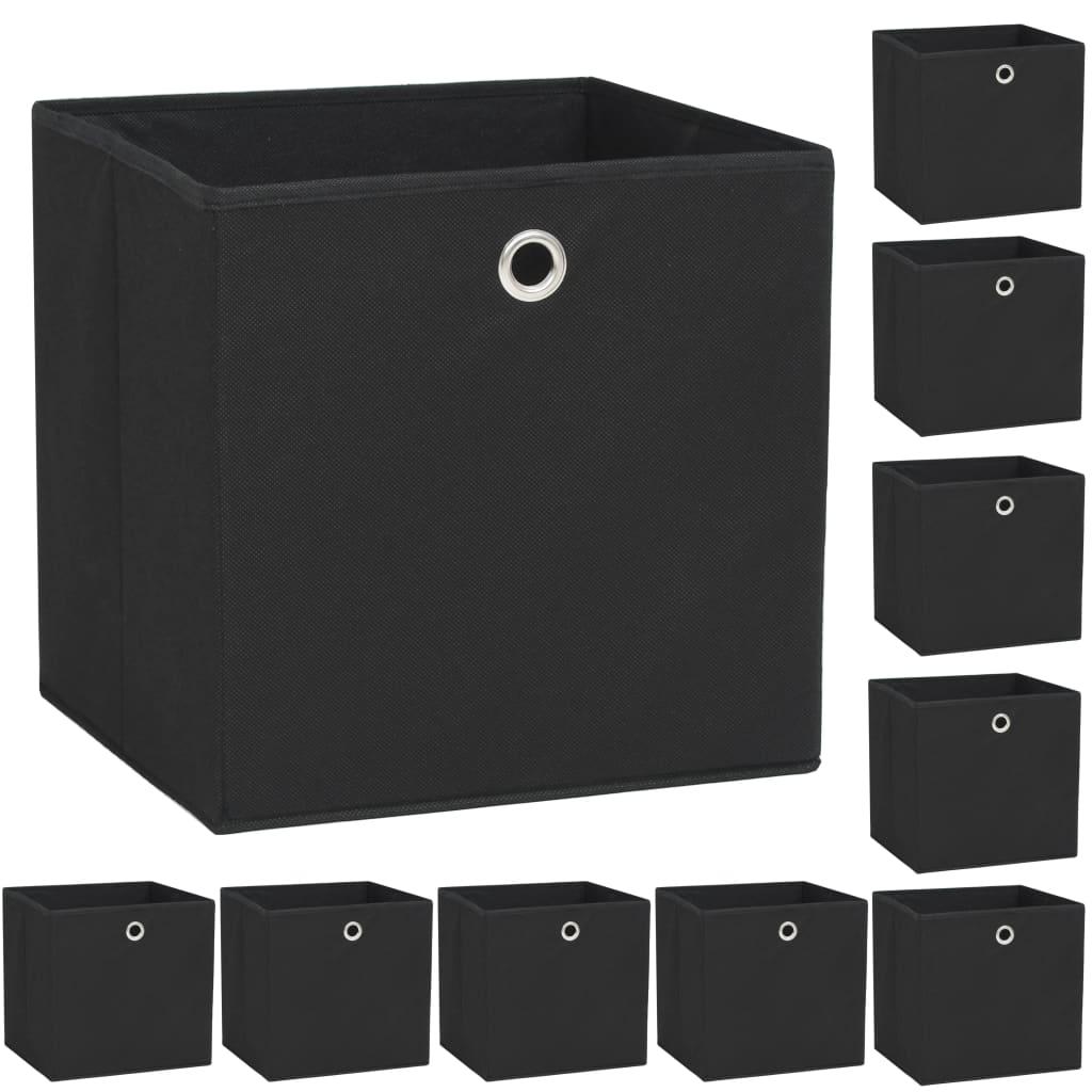 vidaXL Caixas arrumação 10 pcs não-tecido (TNT) 32x32x32 cm preto