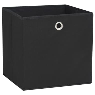 vidaXL opbevaringskasser 10 stk. uvævet stof 32 x 32 x 32 cm sort[4/7]