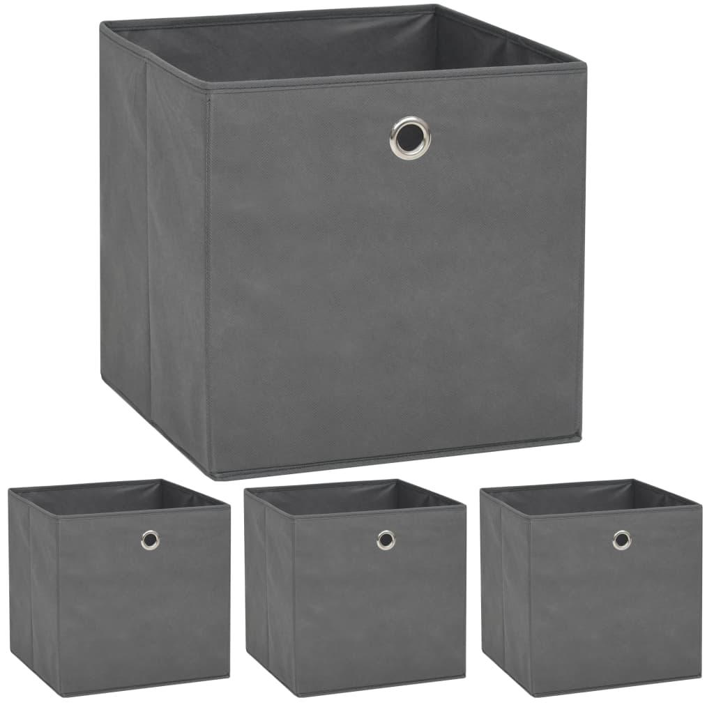 vidaXL Úložné boxy 4 ks netkaná textilie 32 x 32 x 32 cm šedé