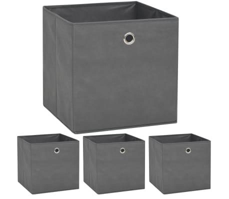 vidaXL Boîte de rangement 4 pcs Tissu non-tissé 32 x 32 x 32 cm Gris