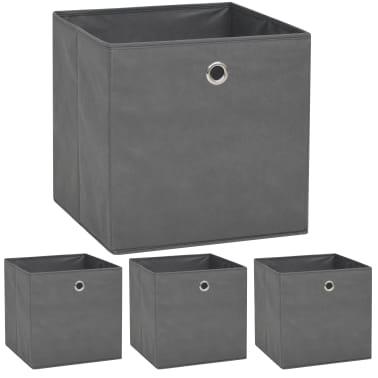 vidaXL Cajas de almacenaje 4 unidades textil no tejido 32x32x32cm gris[1/7]