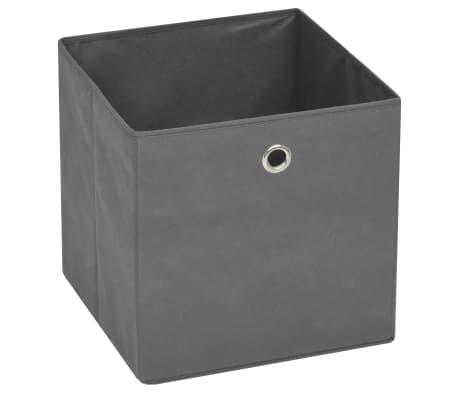 vidaXL Cajas de almacenaje 4 unidades textil no tejido 32x32x32cm gris[5/7]