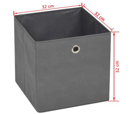vidaXL Cajas de almacenaje 4 unidades textil no tejido 32x32x32cm gris[7/7]