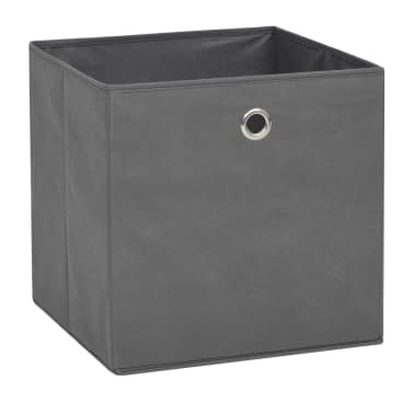 vidaXL Cajas de almacenaje 4 unidades textil no tejido 32x32x32cm gris[2/7]
