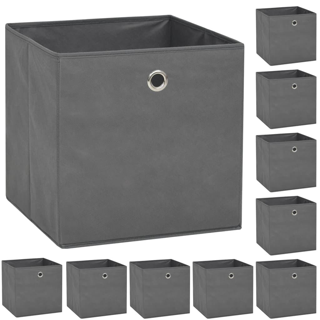 vidaXL Cutii de depozitare, 10 buc, material nețesut, 32x32x32 cm, Gri imagine vidaxl.ro