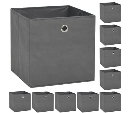 vidaXL Boîte de rangement 10 pcs Tissu non-tissé 32 x 32 x 32 cm Gris[1/7]