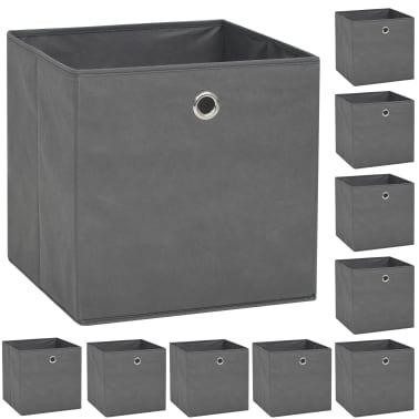 vidaXL Cutii de depozitare, 10 buc, material nețesut, 32x32x32 cm, Gri[1/7]
