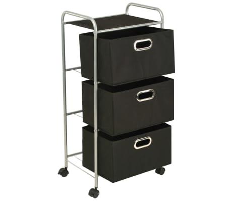 vidaXL Estantería con 3 cajas de almacenaje acero y textil no tejido[3/7]
