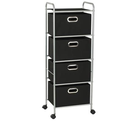 vidaXL Estantería con 4 cajas de almacenaje acero y textil no tejido
