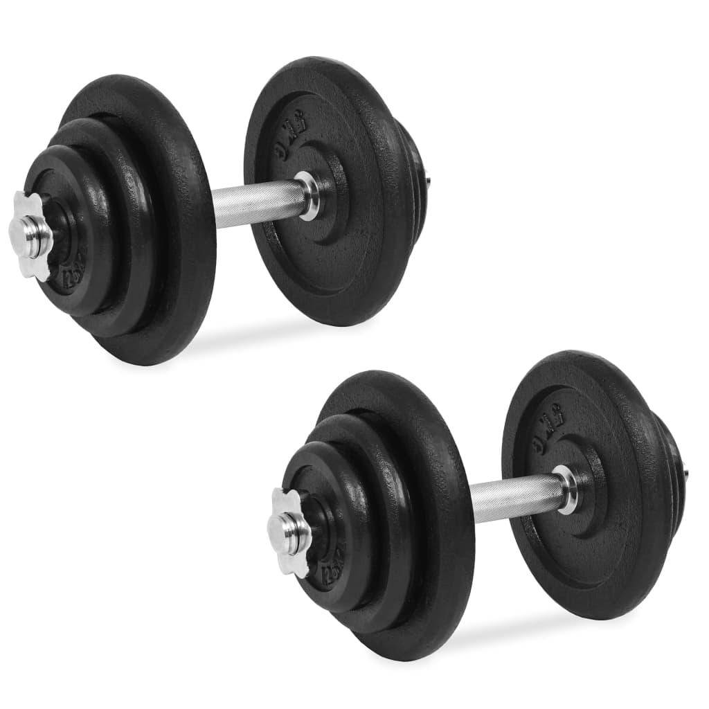 vidaXL 18dílný set činek 40 kg, litinový