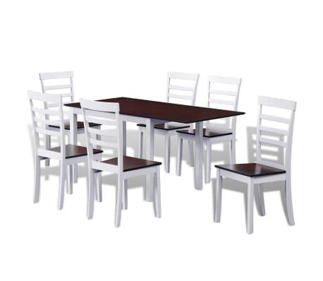 vidaXL 7-dijelni blagovaonski set s produžetkom za stol smeđe-bijeli[1/8]