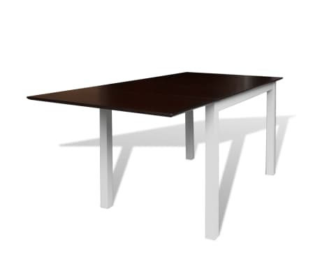 vidaXL 7-dijelni blagovaonski set s produžetkom za stol smeđe-bijeli[2/8]