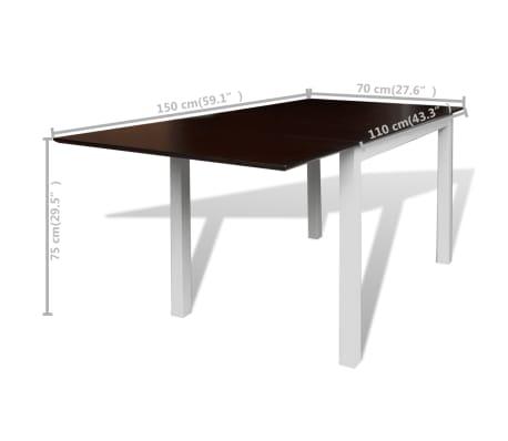 vidaXL 7-dijelni blagovaonski set s produžetkom za stol smeđe-bijeli[7/8]