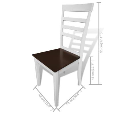vidaXL 7-dijelni blagovaonski set s produžetkom za stol smeđe-bijeli[8/8]