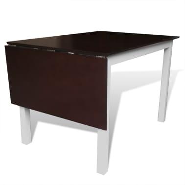 vidaXL 7-dijelni blagovaonski set s produžetkom za stol smeđe-bijeli[4/8]