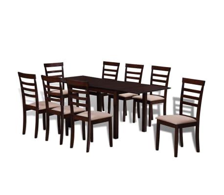 vidaXL 9-dijelni blagovaonski set s produžnim stolom smeđi[1/8]