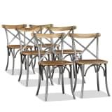 vidaXL Chaise de salle à manger 6 pcs Bois de manguier massif et acier