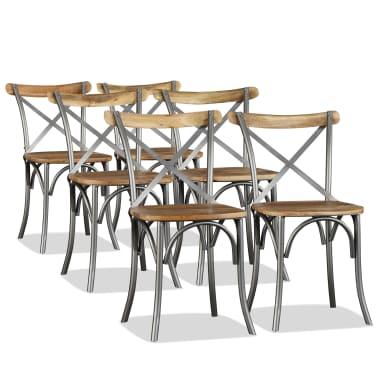 vidaXL Chaise de salle à manger 6 pcs Bois de manguier massif et acier[1/11]