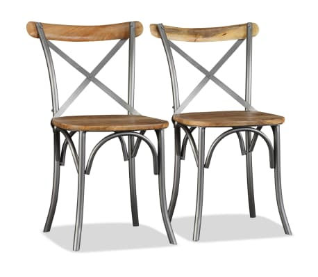 vidaXL Chaise de salle à manger 6 pcs Bois de manguier massif et acier[6/11]