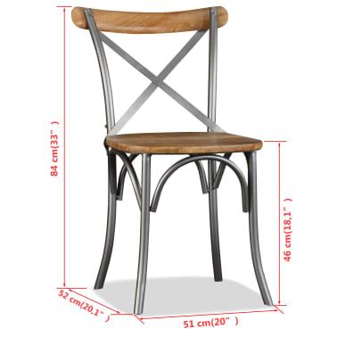 vidaXL Chaise de salle à manger 6 pcs Bois de manguier massif et acier[11/11]