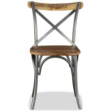 vidaXL Chaise de salle à manger 6 pcs Bois de manguier massif et acier[7/11]